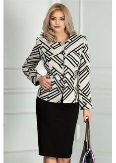 Compleu dama alb cu fusta neagra office