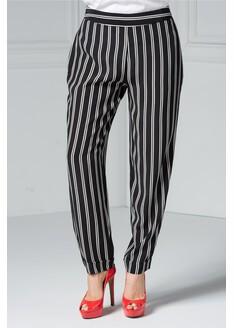 Pantalon Brise Kira negru cu dungi albe, office eleganti.