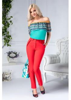Pantalon Moze rosu drept cu buzunare
