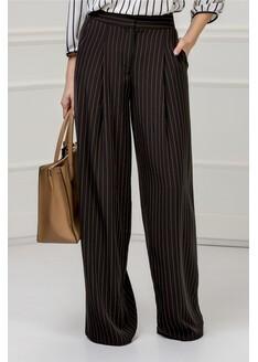 Pantalon Xara negru evazat in dungi