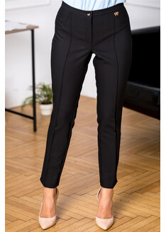 Pantaloni ABBY negri office cu dunga