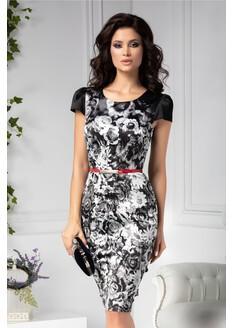 Rochie Ailyn cu imprimeuri florale alb negru