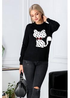 Bluza Cati neagra cu pisica pufoasa