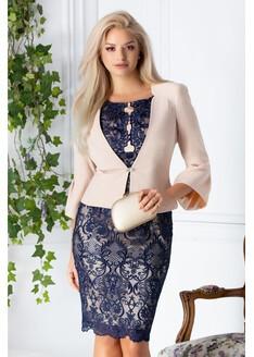 Compleu dama cu rochie din broderie bleumarin si sacou bej