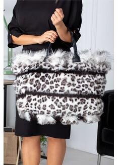 Geanta Kitty maxi cu insertii dungi negre si animal print gri leopard