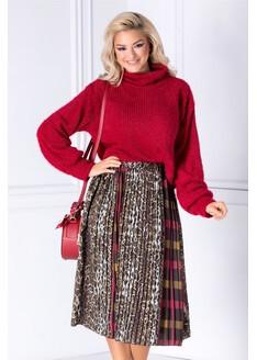 Bluza bordo din tricot catifelat cu fir stralucitor