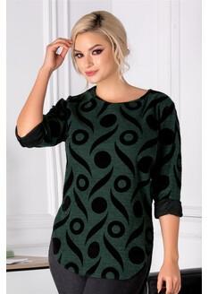 Bluza Cary verde cu insertii catifelate