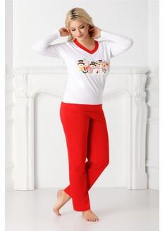 Pijama Christmas alb cu rosu si imprimeu de iarna